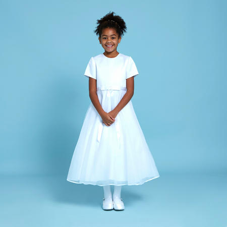 Suki Satin Top Communion Dress White
