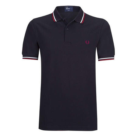 Slim Fit Twin Tipped Polo Shirt Navy