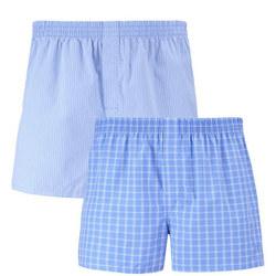 2 Pack Woven Boxer Short Blue