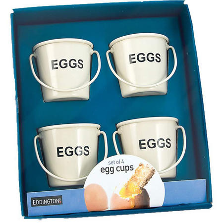 Set of 4 Egg Cup Egg Buckets Cream Egg