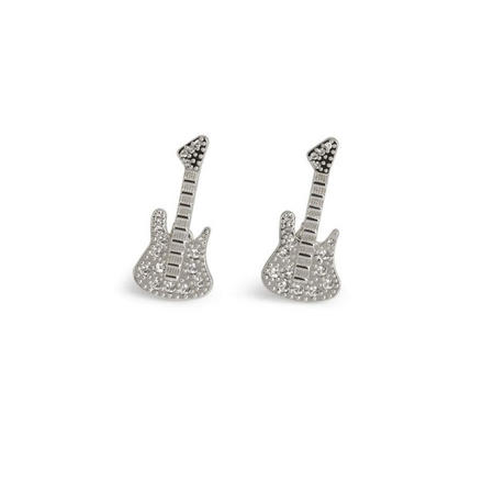25th Anniversary Crystal Guitar Cufflink Silver