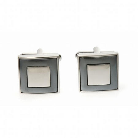 Square Moat Cufflink Silver