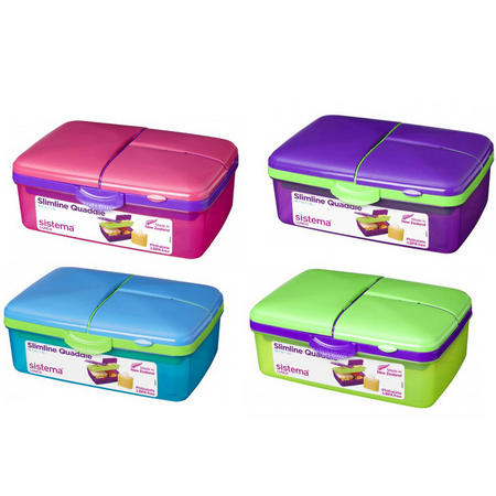 Lunchbox Slimline 4 Compartment Quaddie 1.5L