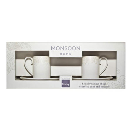 Monsoon Lucille Espresso Cup & Saucer X2 Gold (Gift Box)