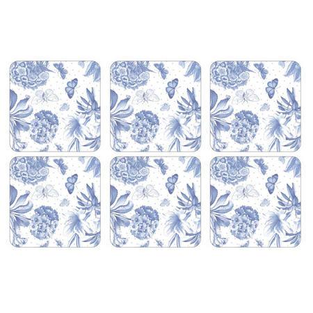 Pimpernel Set 6 Coasters Botanic Blue