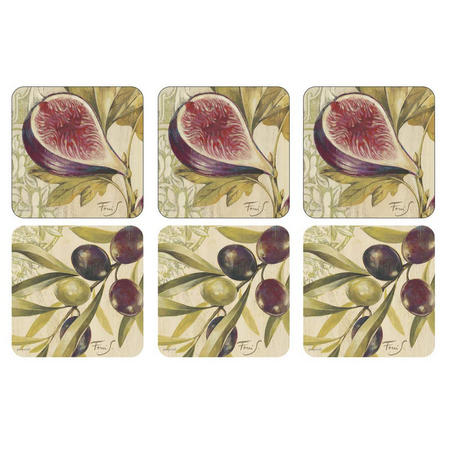 Olives & Figs Coasters Set of 6 Multicolour