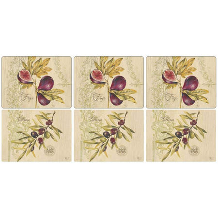 Olive & Figs Placemats Set of 6 Multicolour
