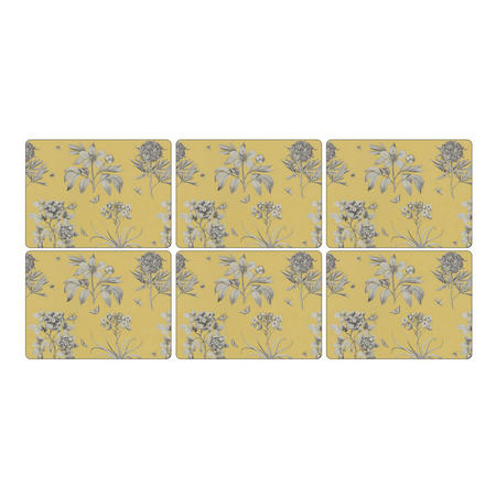 Etchings & Roses Yellow Placemat Set of 6