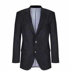Plain Textured Blazer Navy