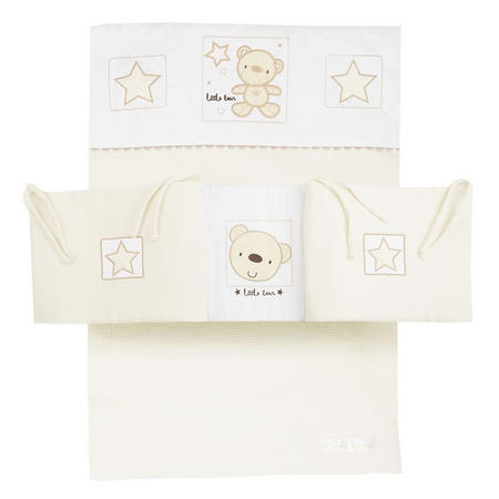 Star Ted Cot Bedding & Bumber Set Cream