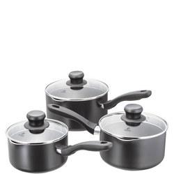 Aura Saucepan Set Of 3 Steel