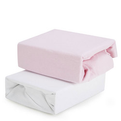 2-Pack Fitted Sheets for Cot Pink