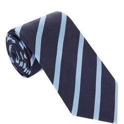 Diagonal Stripe Silk Tie Navy