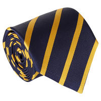 Diagonal Stripe Silk Tie Navy