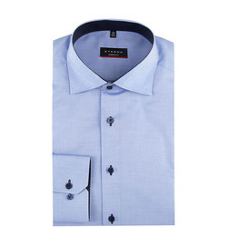 Plain Trim Formal Shirt Blue