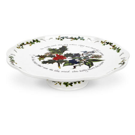 The Holly And The Ivy Pierced Footed Cake Plate