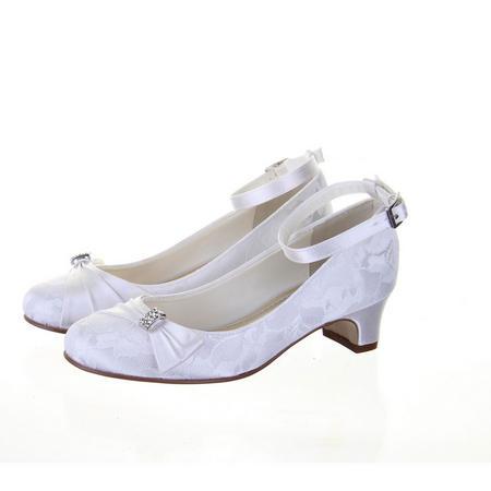 Lace Communion Shoes White