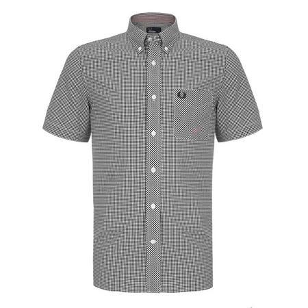 Short Sleeve Gingham Shirt Black