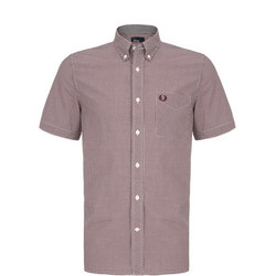 Short Sleeve Gingham Shirt Wine