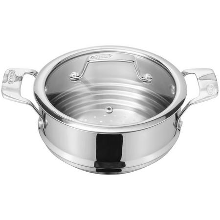 Stainless Steel Steamer Insert with Glass Lid