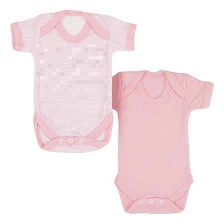 2 Pack Short Sleeve Vests Pink