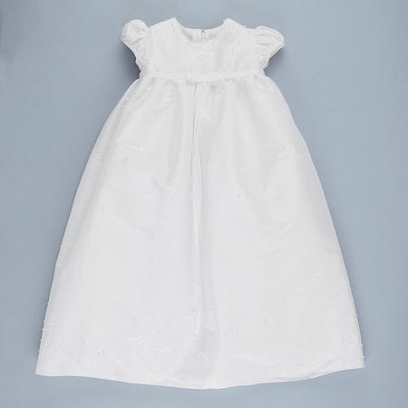 Emma Sequin Embellished Christening Gown & Hat White