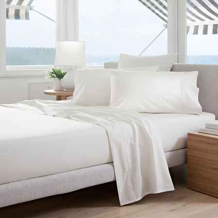 Classic Percale - 300tc Fitted Sheet Snow