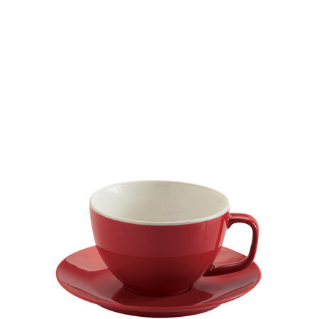 Red Large Cup And Saucer