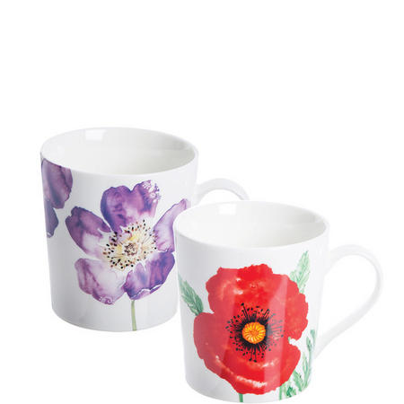 Woodland Poppies Assorted Fine China Mugs