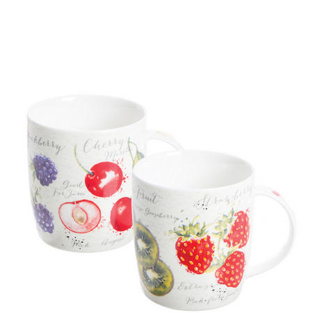Fruit Market Assorted Fine China Mugs