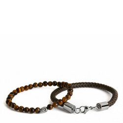 Double Bead Bracelet Brown