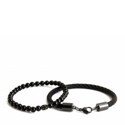 Double Bead Bracelet Black