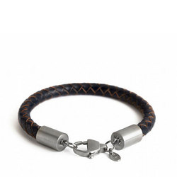 Silver Catch Leather Bracelet Navy