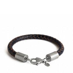 Silver Catch Leather Bracelet Navy