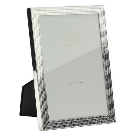 Herringbone Silver Plate Frame 5 x 7 Inch
