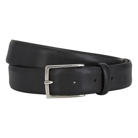 Slim Saffiano Leather Belt Black