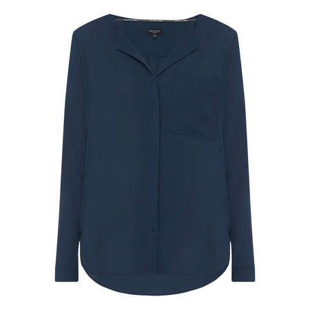 Dynella Turn-Down Blouse Navy