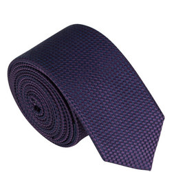 Skinny Silk Textured Tie Purple