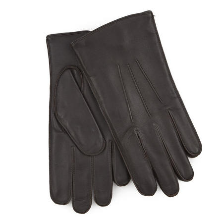 Fleece Lined Leather Gloves Brown