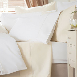 600 Thread Count Cotton Sateen Square Pillowcase Ivory