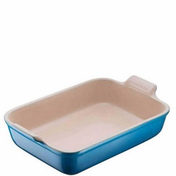 Stoneware Rectangular Deep Dish 26 cm Blue
