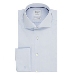 Solid Double Cuff Shirt Blue