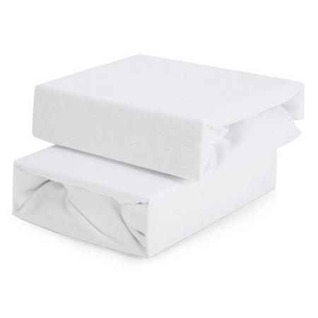 2-Pack Fitted Sheets for Travel Cot White
