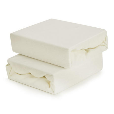 2-Pack Fitted Sheets for Travel Cot Cream