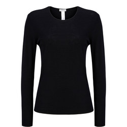 Long Sleeve Wool Silk Top Black