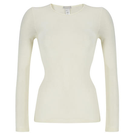 Woolen Silk Long Sleeve Top White