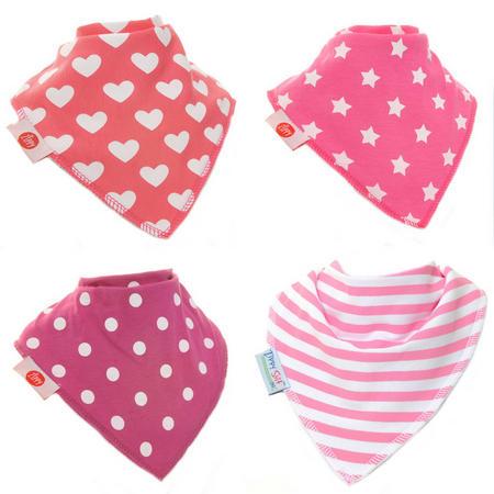 Four-Pack Geometric Pattern Dribble Bibs Pink