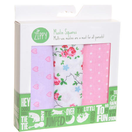 Three-Pack Muslin Cloths Pink