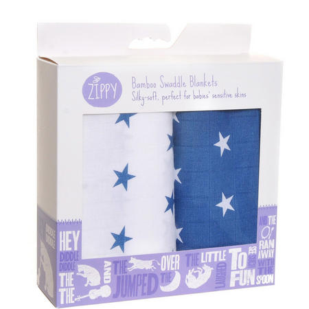 Two--Pack Bamboo Swaddle Blankets Blue