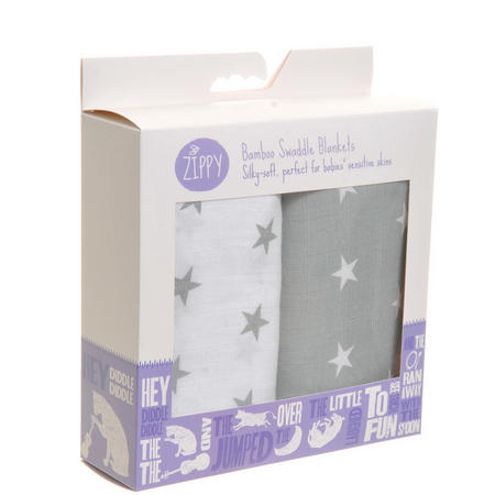 Two-Pack Bamboo Swaddle Blankets Grey